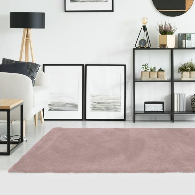mon beau tapis tapis shaggy rose poudr extra doux 160x230cm caline pas cher achat vente. Black Bedroom Furniture Sets. Home Design Ideas