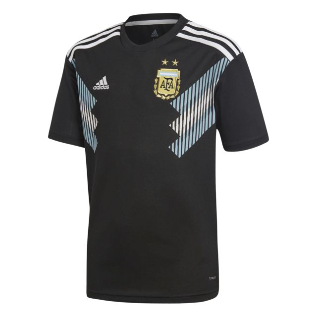 Adidas - Maillot extérieur junior Argentine Coupe du monde 2018 noir/bleu ciel/blanc