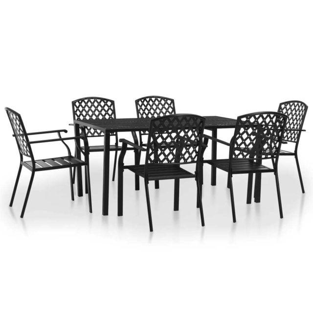 jardinEnsembles d'extérieurNoirNoir 7pcs Maille de meubles d'extérieur de Ensemble salle à Noir d'acier MeublesMeubles de manger WrdBxCoe