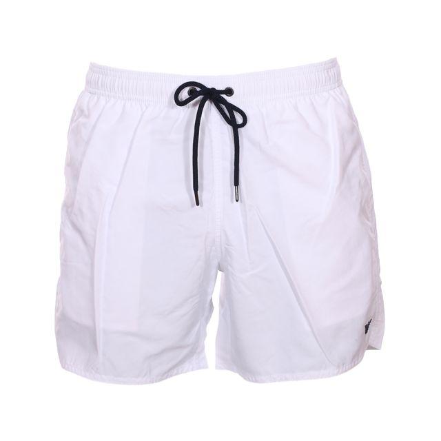 Armani Ea7 Short de bain Emporio Armani blanc brodé du logo en bleu marine