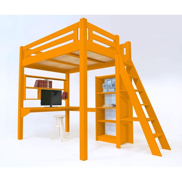 abc meubles lit mezzanine alpage bois chelle hauteur r glable orange 160cm x 200cm pas. Black Bedroom Furniture Sets. Home Design Ideas