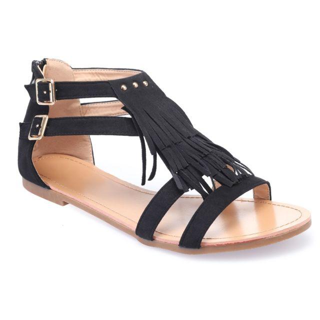 6b5e5d87e1ecec Lamodeuse - Sandales noires à franges grandes tailles - pas cher ...