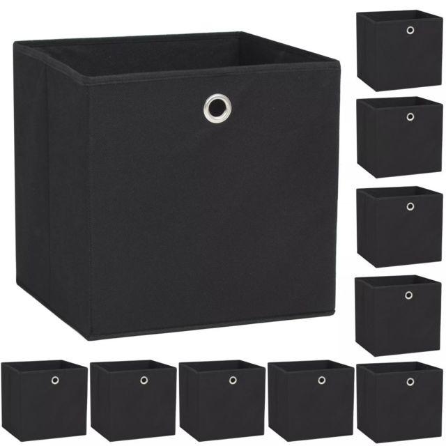 Moderne Rangement et organisation famille Yaoundé Boîte de rangement 10 pcs Tissu non-tissé 32 x 32 x 32 cm Noir