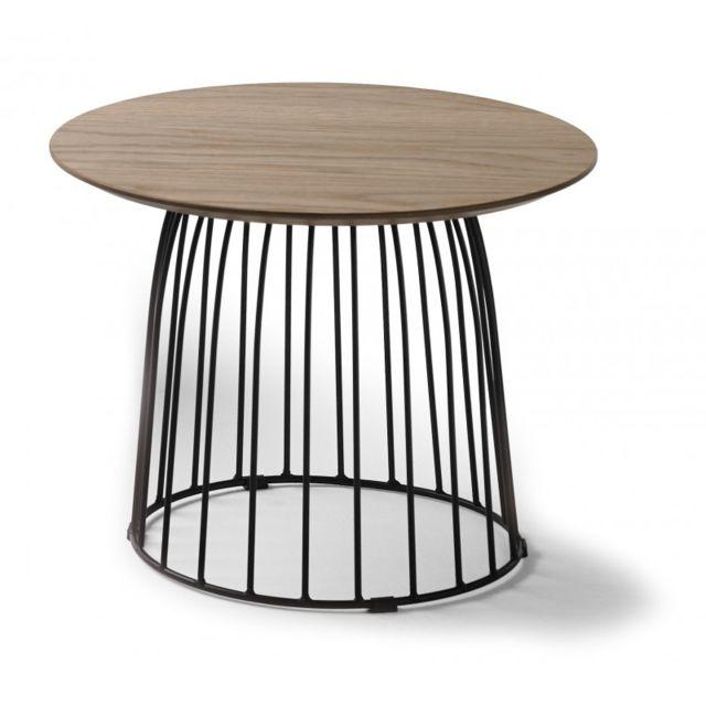 Ma Maison Mes Tendances Table Basse Ronde 50cm En Bois De Chêne Et