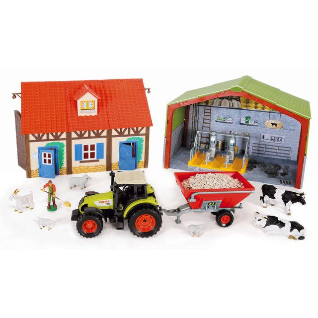 RUE DU COMMERCE Ferme avec tracteur Class et accessoires - 802250 Ce set de ferme contient une étable moderne, un fermier, un tracteur Class avec remorque, des animaux et de nombreux accessoires.