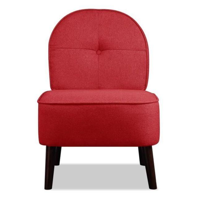 Icaverne FAUTEUIL DAISY Fauteuil pieds bois - Tissu rouge - L 52 x P 67 x H 76 cm