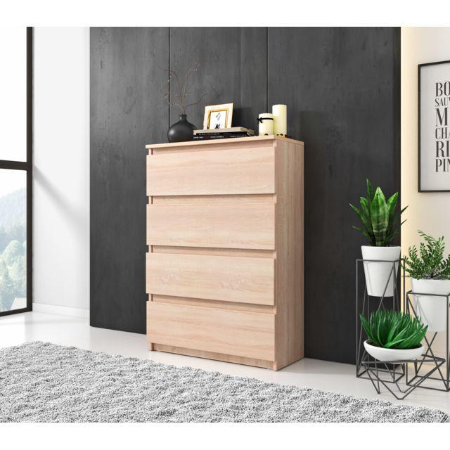 Furnix Commode salon / Meuble de rangement - Woody - 70 cm - chêne sonoma - 4 tiroirs - style moderne - style classique