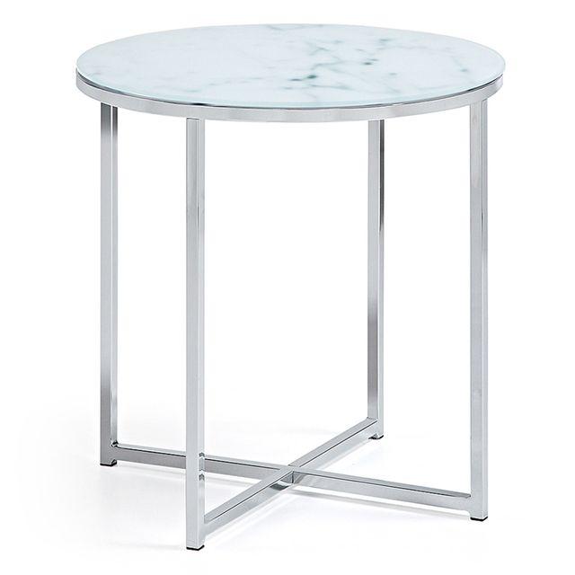 Kavehome Table basse Divid 50 cm, verre effet marbre