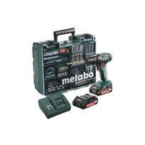 Metabo - Perceuse à percussion BS 18 SET - 2 Batteries 18V 2.0 Ah, chargeur + Atelier Mobile 74 accessoires - 602245870