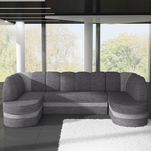 SOFAMOBILI Canapé panoramique convertible en tissu gris DOLCE 2