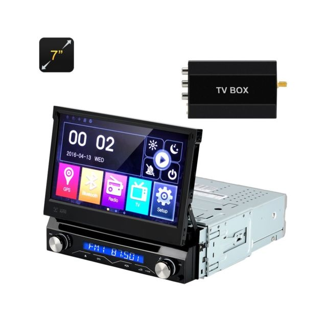 Auto-hightech Autoradio 7 pouces - 1 Din, panneau détachable, Gps, Bluetooth, Fm Radion