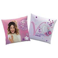 Disney - Coussin réversible enveloppe polyester music lovers rose et violet 40x40cm Violetta