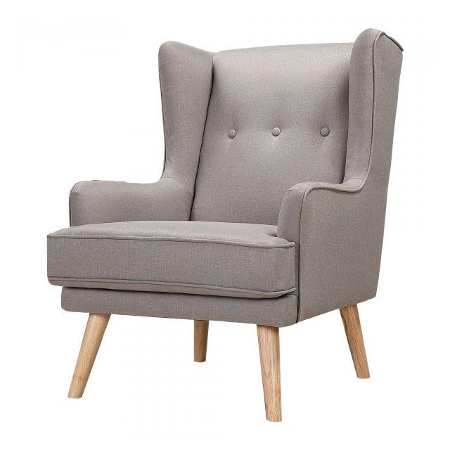 Moloo Gustav-fauteuil scandinave tissu gris pieds bois