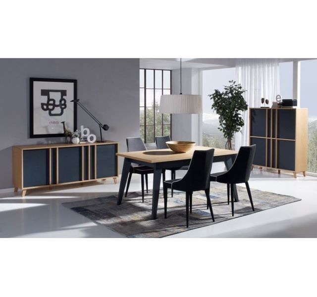 HELLIN Table extensible moderne MONDRIAN - coloris gris/bleu