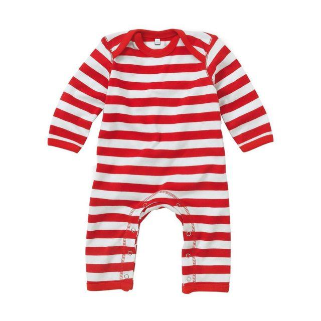 Babybugz - Grenouillère rayée bébé jambes manches longues - Bz13S - rayé  rouge 97b561e0294