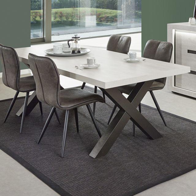 Nouvomeuble Grande table contemporaine couleur chêne gris Lucas