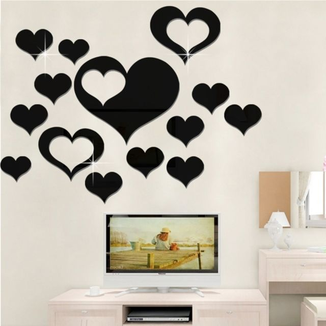 Wewoo   Sticker Mural Noir 5 En 1 Amour Forme Miroir Art Décor Stickers  Muraux Salon