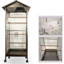 Justdeco - Superbe Volière cage à oiseaux metal canaries perroquet perruches hauteur 157cm