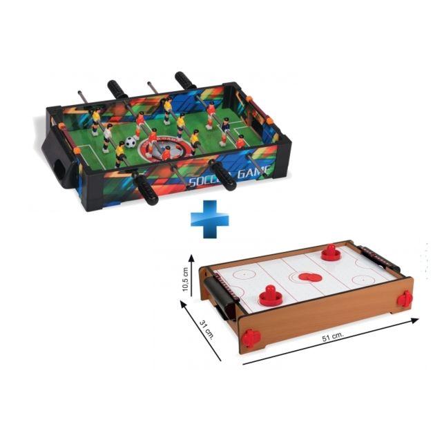 LEGNOLAND - Jeux de table - Babyfoot de table en bois - 36608 + Air Hockey 5e4adec8071f