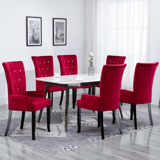 Admirable Fauteuils ensemble Oslo Chaise de salle à manger avec accoudoirs 6 pcs Rouge Velours