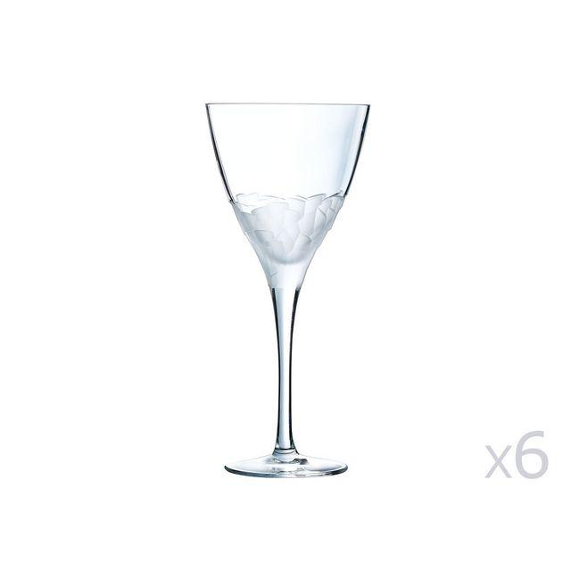 Cristal D'ARQUES Verre à pied en cristallin 30cl - Lot de 6 Intuition