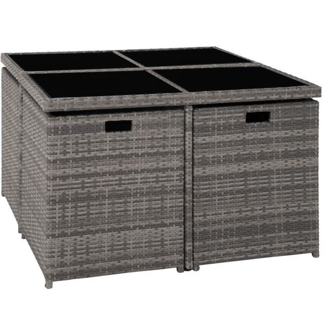 Salon de jardin MANHATTAN - 4 Chaises 4 Tabourets 1 Table en Résine Tressée  structure Aluminium Gris