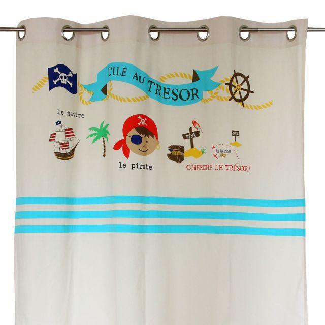 Alinéa - Pirate Rideau à illets 110x250cm motifs pirate pour enfant ...