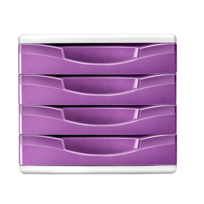 CARREFOUR - Bloc de rangement - 4 tiroirs - Rose