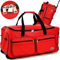 Rocambolesk - Superbe Grand sac de voyage trolley 100L avec roulettes - Rouge- sac transport & cadenas neuf