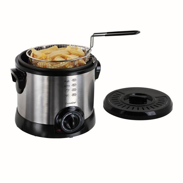 DOMOCLIP Friteuse 1,5 L DOC198 Friteuse - Capacité de 1,5 L - Jusqu'à 0,5 kg de frites - Thermostat réglable jusqu'à 190°C - Panier à friture avec poignée amovible - Position haute du panier pour égoutt