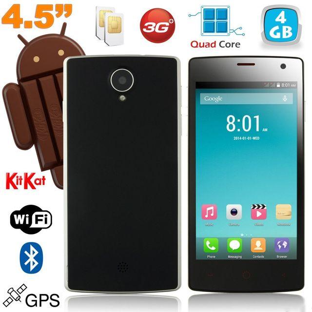 Yonis Smartphone Android Dual Sim 4.5 Pouces KitKat Quad Core Noir