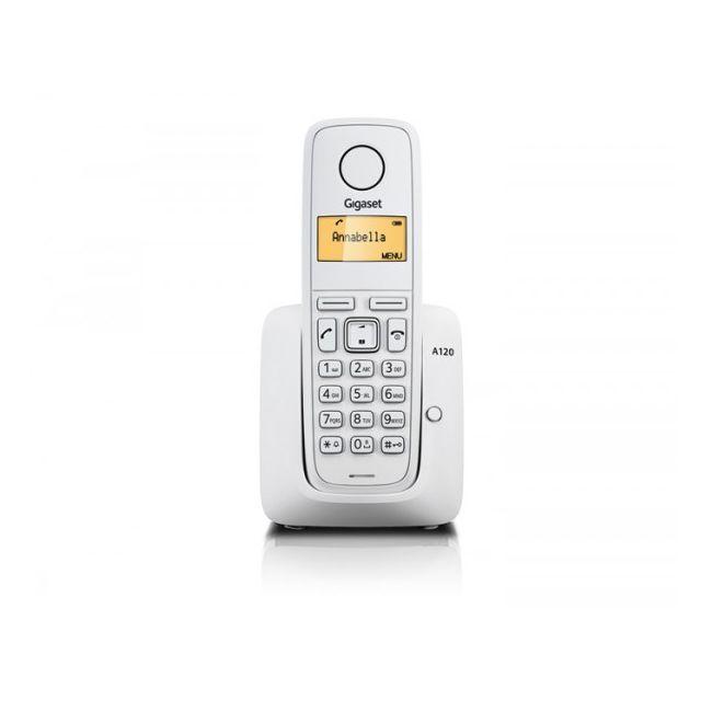 gigaset telephone sans fil a120 blanc pas cher achat vente t l phone fixe sans fil. Black Bedroom Furniture Sets. Home Design Ideas