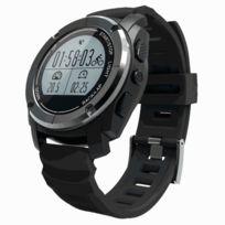Wewoo - Montre connectée noir Gps Sport Smart Watch, podomètre / fréquence cardiaque / pression / température / hauteur / Auto Lap / rappel sédentaire / moniteur de sommeil