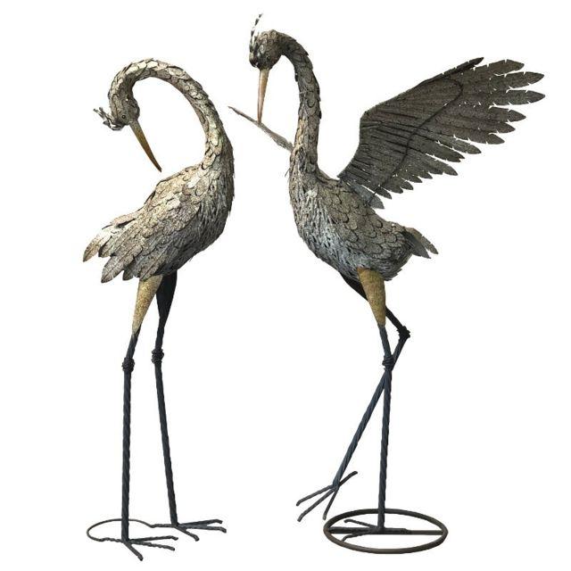 Chemin De Campagne Couple de Heron Statue Sculpture de Jardin Fer Métal 133 cm