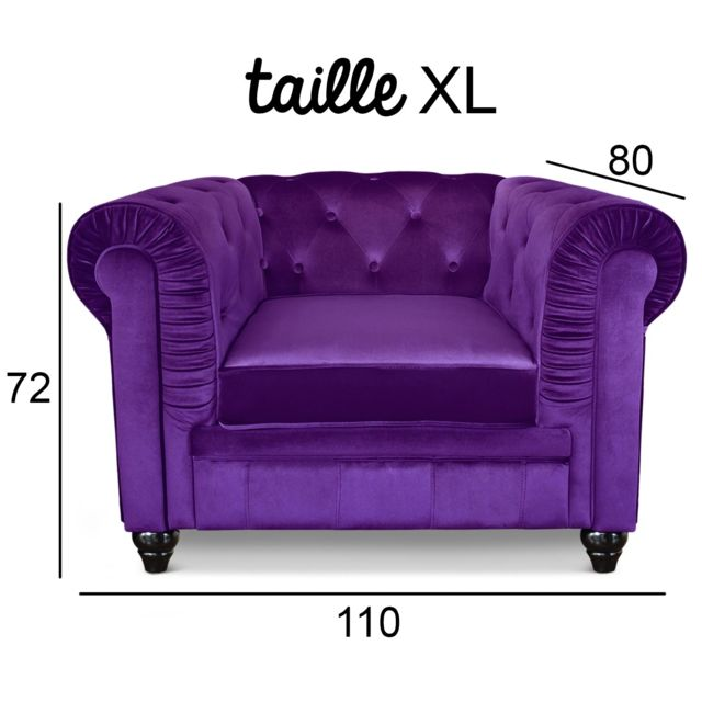 MENZZO Grand fauteuil Chesterfield velours Violet
