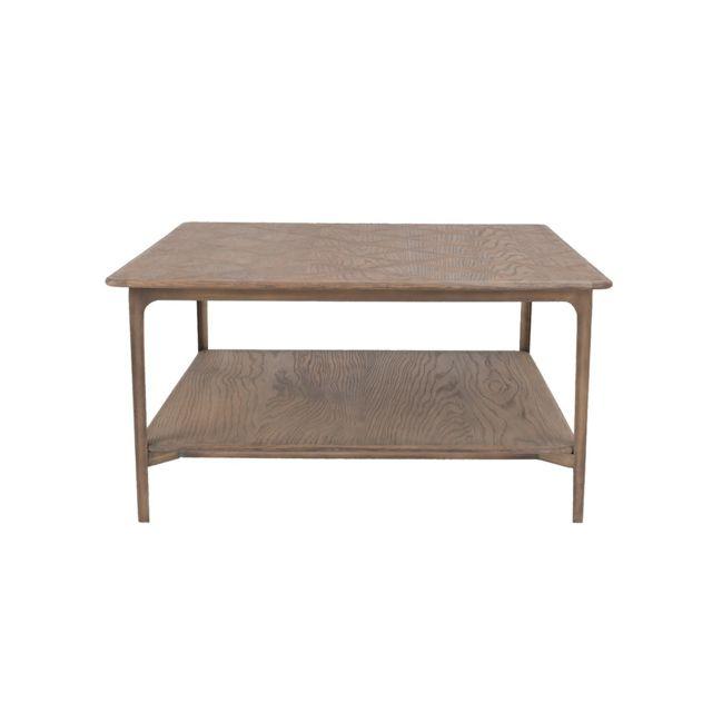 Signature Table basse avec plaquage chêne et métal Versailles