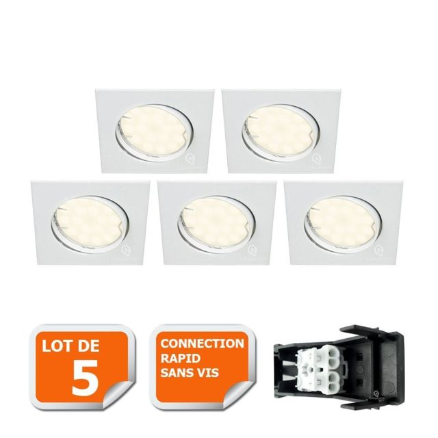 Eurobryte Lot De 5 Spot Encastrable Orientable Led Carre Gu10 230V eq. 50W Blanc Neutre