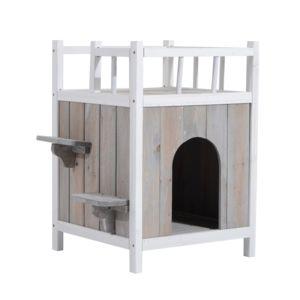 pawhut niche villa pour chat terrasse escalier bois massif gris clair et blanc 77 pas cher. Black Bedroom Furniture Sets. Home Design Ideas