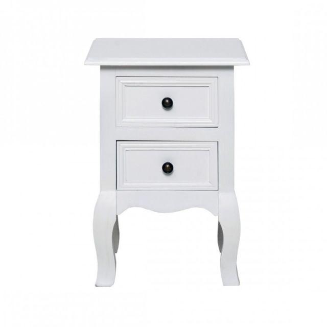 Table De Chevet Classique mobili rebecca - table de chevet 2 tiroir bois blanc classique