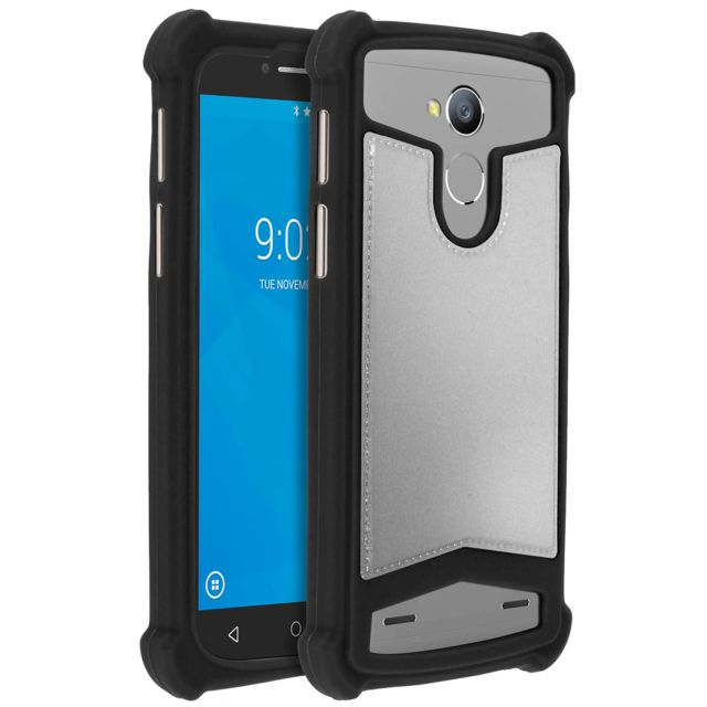 avizar coque universelle smartphone 4 7 5 pouces protection silicone gel noir argent pas. Black Bedroom Furniture Sets. Home Design Ideas
