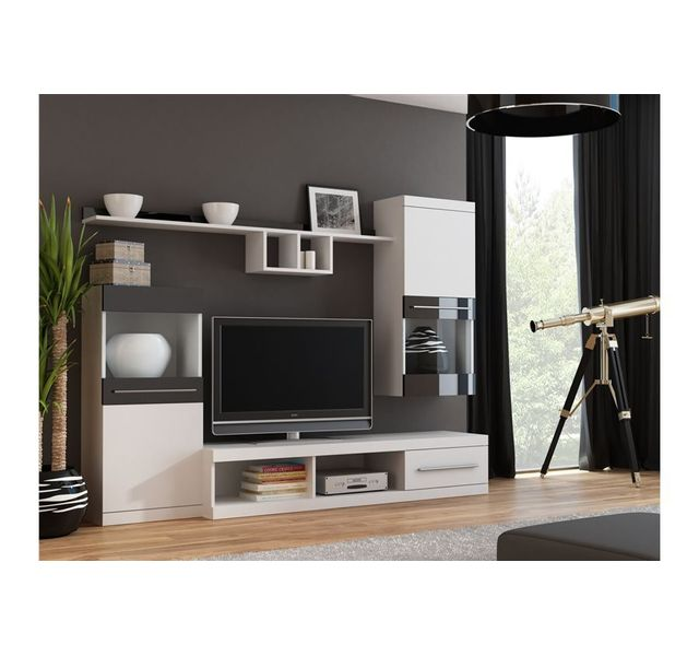 CHLOE DESIGN Meuble tv mural design CINK - blanc et noir