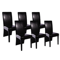 Vidaxl - Chaise design bois noir lot de 6