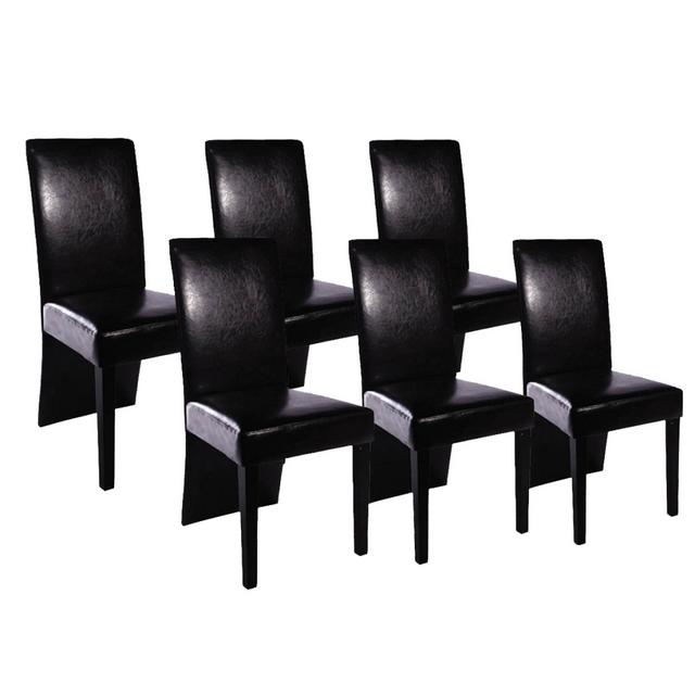 Vidaxl Chaise Design Bois Noir Lot De 6 Pas Cher Achat Vente