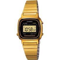 Casio - femme La670WG-1UW -prix Dingue Montre Vintage - Digitale -etanche - Bracelet couleur or.Taille du cadran 30,3mm x 24,6mm x 7,3mm H x L x PMontre dorée pas chère
