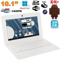 Yonis - Mini Pc Android ultra portable netbook 10 pouces WiFi 20 Go Blanc