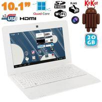 Mini Pc Android ultra portable netbook 10 pouces WiFi 20 Go Blanc