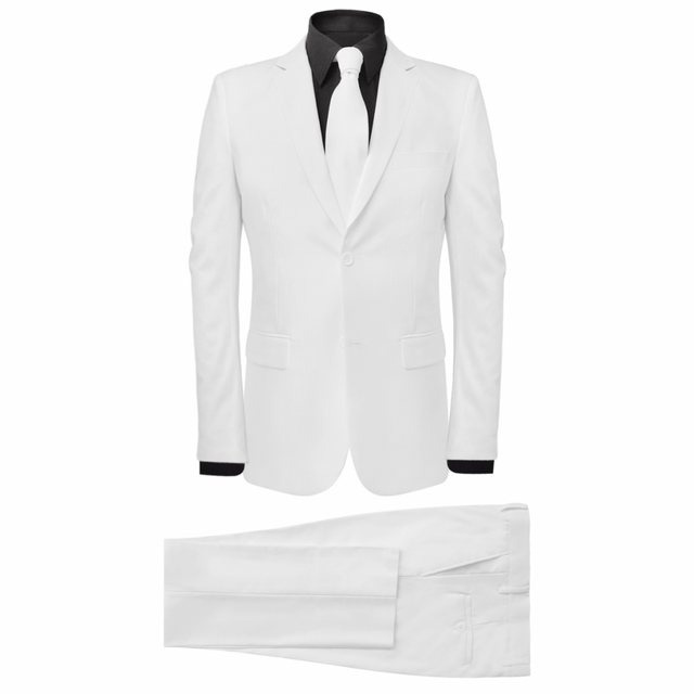 Vidaxl Costume pour hommes avec cravate 2 pièces Blanc Taille 54