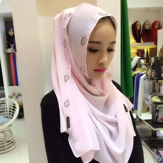 Wewoo - Strass en Mousseline de Soie Perle Caché Boucle Foulard Femme  Nationalité Style Foulard Hijab Musulman Foulard Rose - pas cher Achat    Vente ... 03fdcddf0eb