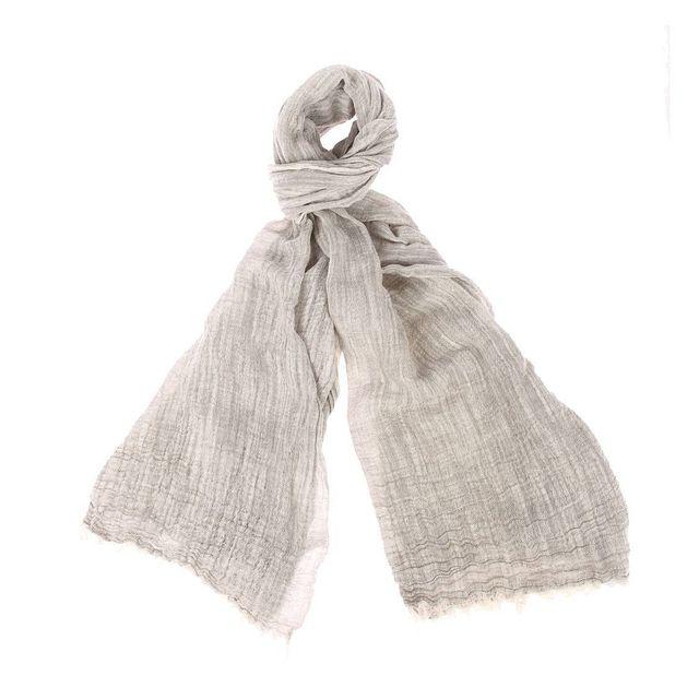 Harris Wilson - Chèche Ilan en lin et coton gris chiné - pas cher Achat    Vente Echarpes, foulards - RueDuCommerce c4368fc0951