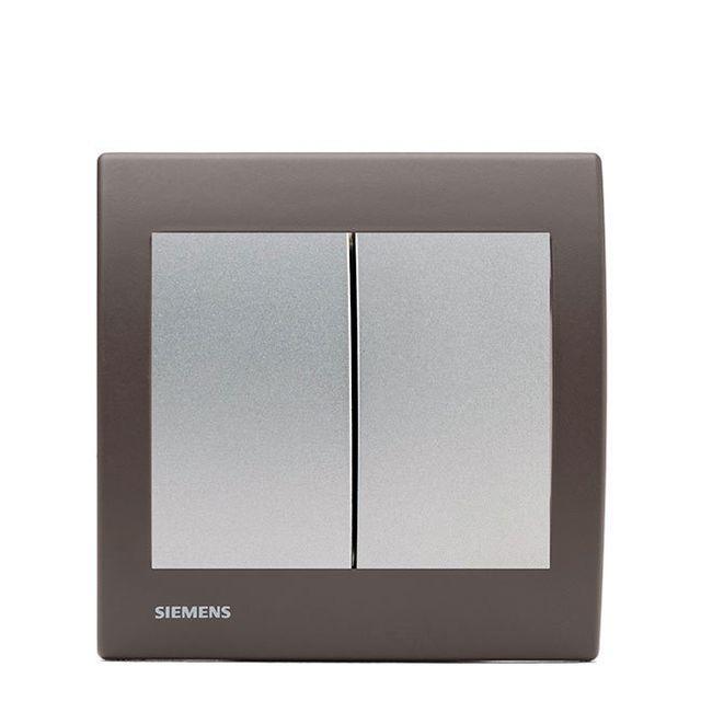 Siemens - Double Poussoir Silver Delta Iris + Plaque Soft Marron